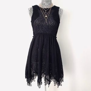 Free People Black Lace Skater Dress
